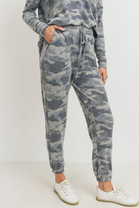 Camo Soft Brushed Knit Jogger Pants, Grey