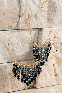 Glass Bead Tassel Chandelier Earrings, Black