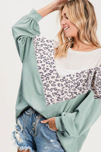 Chevron Colorblock Leopard LS Top, Dusty Mint