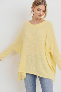 Super Soft Round Neck Oversized Top, Yellow