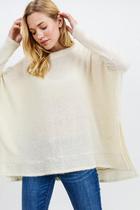 Super Soft Round Neck Oversized Top, Ivory