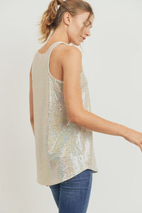 Luxe Sparkly Sequin Racerback Tank Top, Ivory