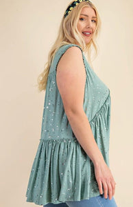 (CURVY) Speak The Truth Foil Print Raw Edge Ruffle Detail Top, Sage