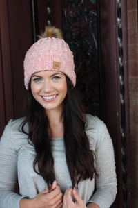 Hit The Slopes Chenille Fleece Lined Pom Beanie, Pink