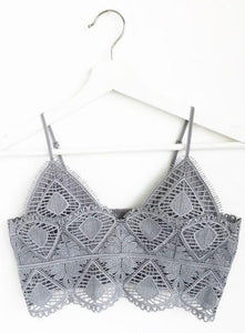 Geometric Crochet Lace Bralette, Light Grey
