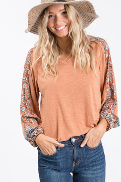 Serendipity Boho Floral Contrast Sleeve Top, Rust