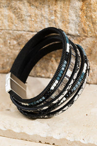 Multi Layered Bead & Vegan Leather Magnetic Bracelet, Black