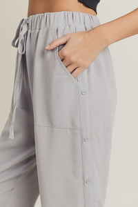Jogger Pants with Side Button Detail, Grey