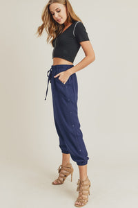 Joggers w/ Side Button Details, Navy