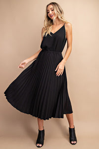 Solid Pleated Midi Skirt, Black