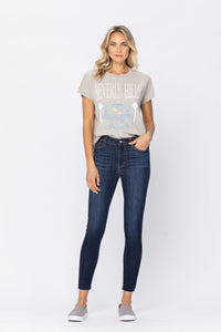 JUDY BLUE: Not So Basic Raw Hem Non-Distressed Skinny Jeans, Sizes 1-18W
