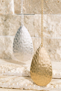 Hammered Metal Teardrop Long Pendant Necklace (Gold or Silver)
