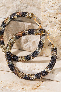 Rhinestone Hoop Earrings, Gold Leopard