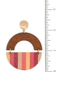 Multi Stripe Round Wood Link Earrings, Yellow