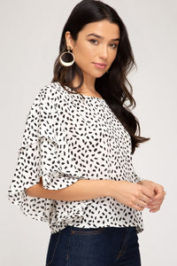 Drop Shoulder Ruffle Sleeve Printed Woven Top, Off White