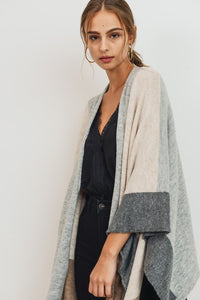Fireside Chat Color Block Open Poncho Cardigan, Oatmeal