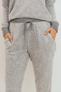 Brushed Knit Jogger Pants, Heather Grey