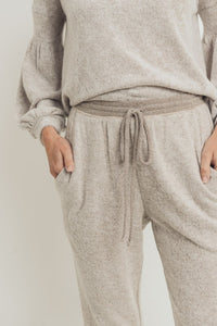 Brushed Knit Jogger Pants, Taupe