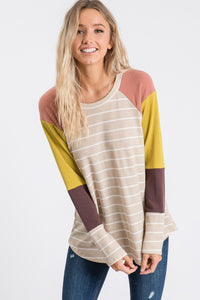 Finding My Way Color Block Sleeve Stripe Thermal Top, Oatmeal