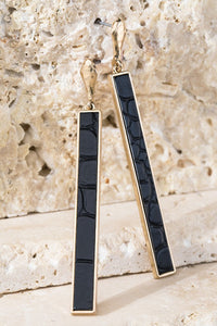 Python Texture Bar Earrings, Jet Black