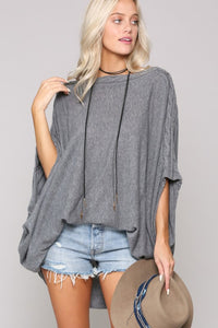 Oversized Off Shoulder Lightweight Knit Sweater, Charcoal