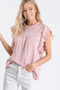 Just Couldn't Resist Swiss Dot Ruffle Trim Sleeveless Top, Blush