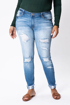 (CURVY) KanCan Seize the Day Mid Rise Distressed Ankle Skinny Jeans, Med Wash