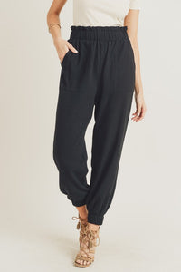 Paper Bag Waisted Jogger Pants, Black