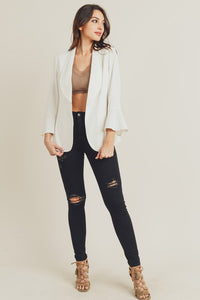 Bell Sleeve Blazer w/ Back Slit, White