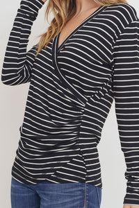 Crossover Front V-Neck Striped Ribbed Knit Top, Black