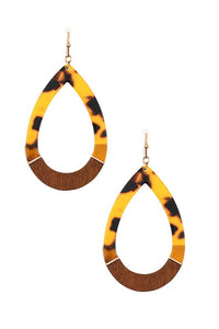 Tortoise Teardrop Dangle Earrings, Brown