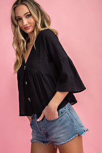 Button Front Flounce Sleeve Baby Doll Top, Black