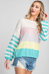 Color Block Spring Weight Sweater, Mint