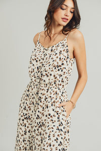 Button Front Leopard Print Jumpsuit, Cream