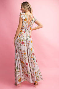 Floral Ruffle Short Sleeve Maxi Dress, Mauve