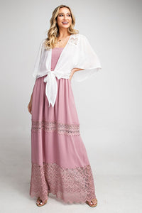 Tie Front Lace Shoulder Boho Coverup, Off White
