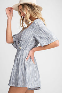 Striped Surplice Romper w/ Button Details, Navy