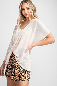 Lightweight Knit Surplice Crossover Front Top, Oatmeal