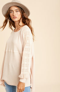 I Get Carried Away Lace Accents Waffle Knit Tunic, Natural