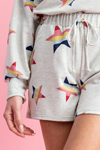 Star Print Terry Shorts, Bright Mix