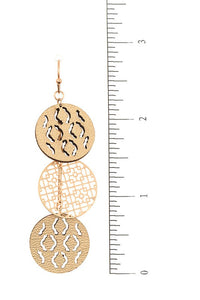 Metal & Leather Circle Cut Out Drop Earrings, White