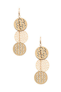 Metal & Leather Circle Cut Out Drop Earrings, Gold
