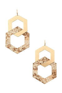 Double Link Hexagon Earrings, Taupe