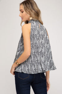 Pleated Woven Animal Print Sleeveless Smock Neck Top, Grey