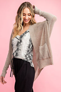 Lightweight Dolman Sleeve Open Cardigan, Oatmeal