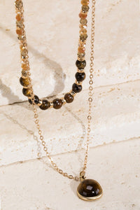 Layered Natural Stone Necklace, Tiger Eye