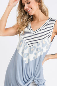 Leopard & Stripe Color Block Sleeveless Top, Baby Blue