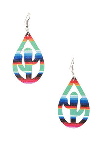 Boho Print Cactus Cut Out Teardrop Earrings, Multi