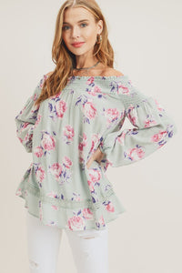 Smocked Shoulder Floral Print Top, Sage