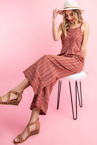Square Neckline Striped Jumpsuit, Spice